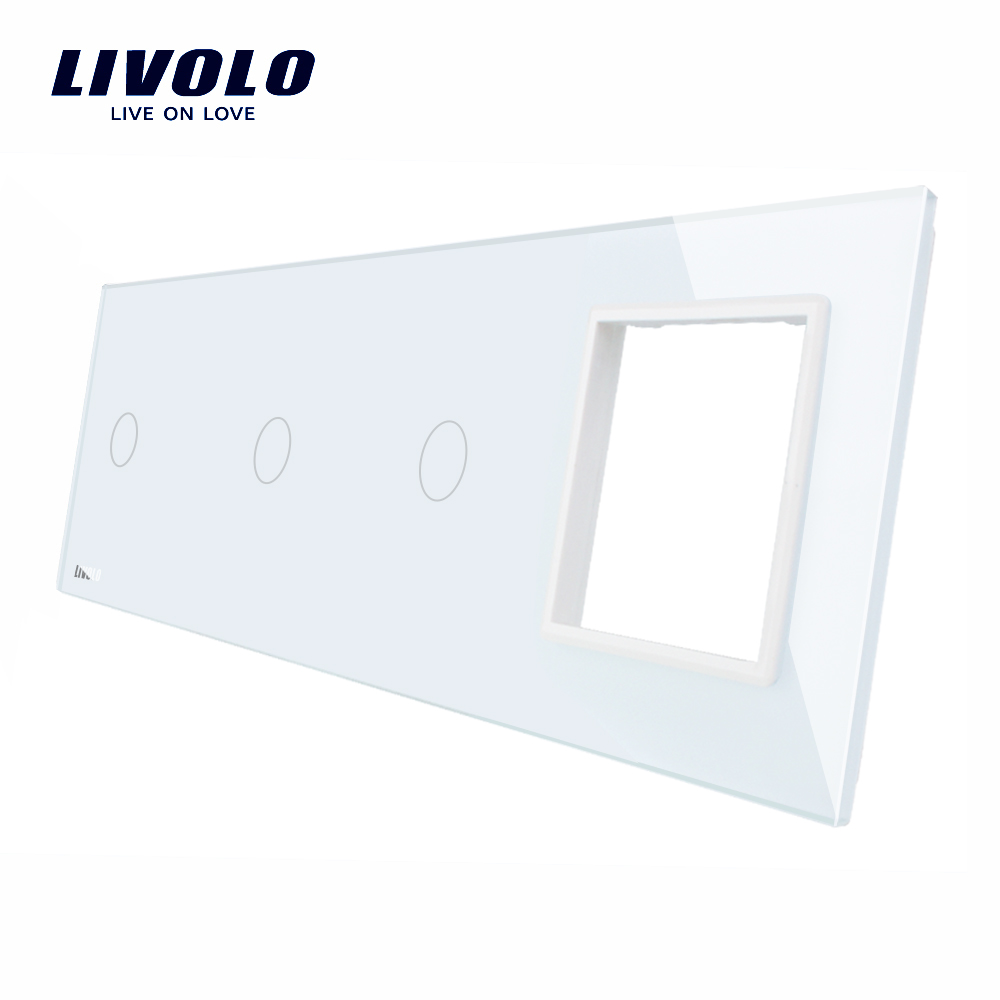 Livolo Luxury Crystal Glass Switch Panel, 294mm*80mm,EU standard,Quadruple Glass Panel ,DIY by yourself,4colors free choose