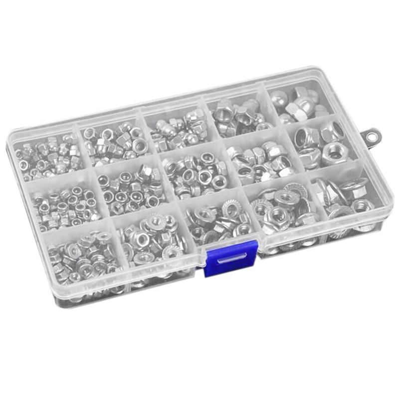1set 304 Hex Nut Sets Household Nylon Lock/Cover Decoration/Flange Nuts 385 Pieces