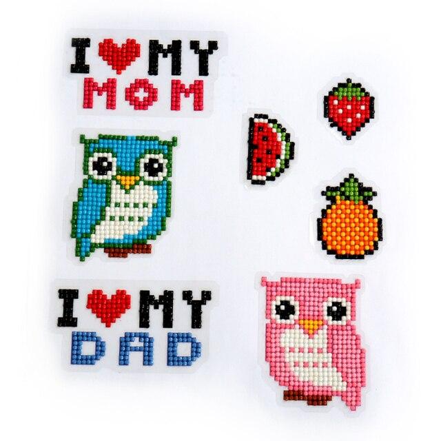 WOO-Diamond Painting Stickers DIY Kits for Kids Diamond Art Mosaic Stickers Childrens Number Sticker Set Cartoon Game Sticker kit