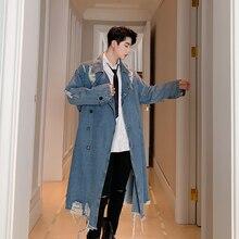 MIXCUBIC, осенняя джинсовая ветровка в английском стиле с рваными дырами, мужская повседневная Свободная джинсовая куртка с потертостями, M-XXL