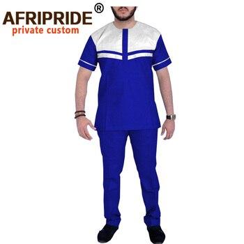 Men`s Casual Tracksuit African Clothing 2 Piece Set Dashiki Shirt SuitOutfits Short Sleeve Blouse Sports Suit AFRIPRIDE A2016023