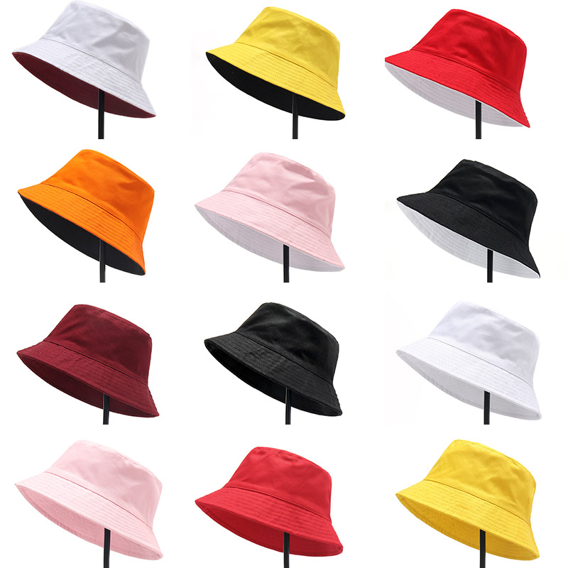 Two Sided Unisex Casual Sun Hat  Solid Double Sided  Bucket Hat Men Women  Bob Hip Hop Caps Summer  Fisherman Hat Panama Fold