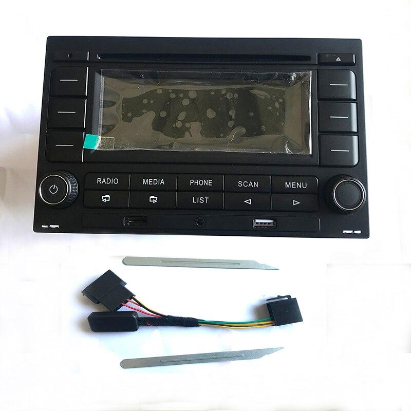 Araba radyo RCN210 CD çalar USB MP3 AUX Bluetooth için kablo demeti ile Golf MK4 Passat B5 Polo için uygun 9N