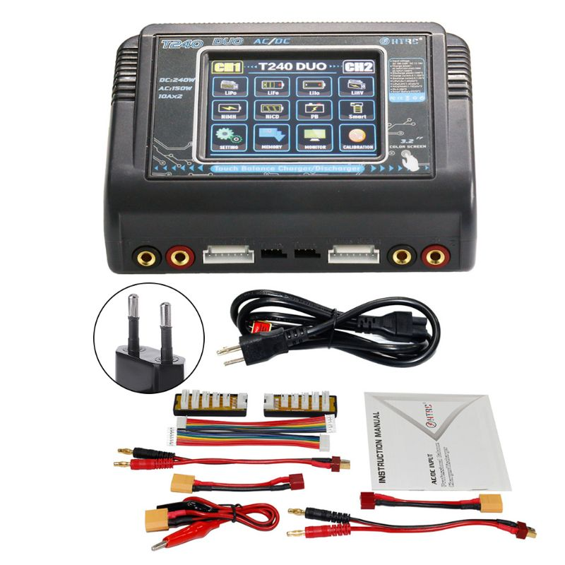 HTRC T240 DUO AC 150W /DC 240W Dual Channel 10A RC Balance Charger Discharger For LiPo LiHV LiFe Lilon NiCd NiMh Pb Battery