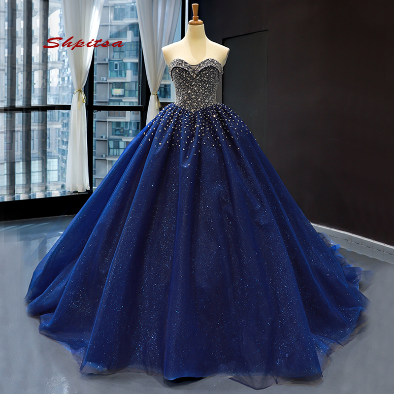 Navy Blue Tulle Quinceanera <font><b>Dresses</b></font> 2020 Plus Size Luxury Crystals Masquerade Ball Gown <font><b>Sweet</b></font> <font><b>16</b></font> <font><b>Dresses</b></font> vestido de 15 anos image