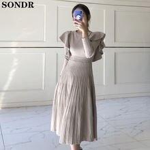 Модные трикотажные платья с высокой талией женское платье длинным