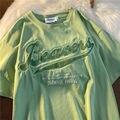 Женская футболка с вышивкой буквами, футболка большого размера с круглым вырезом и коротким рукавом, модные брендовые летние корейские топ...
