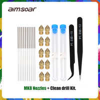 cleaning needle drill bit stainless steel 0.2mm 0.3mm 0.4mm 0.5mm nozzle cleaner tweezer kit curved/straight tweezers 3d printe
