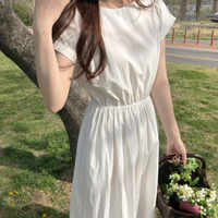 Kobiety lato biała długa sukienka-line w pasie Vestidos elegancka szata Femme Streetwear odzież damska Sukienki Damskie