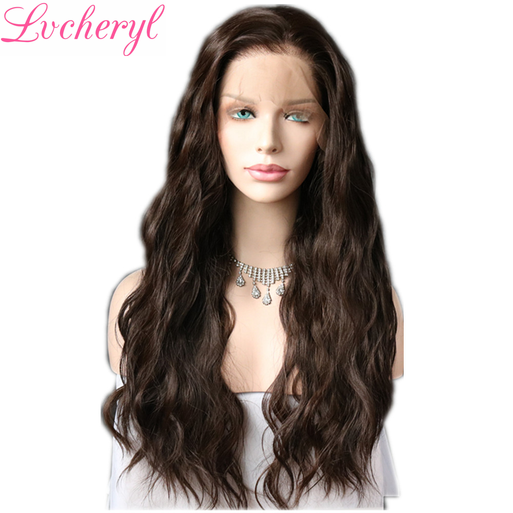 Lvcheryl 13x6 Synthetic Lace Front Wigs Brown Color Natural Long Water Wave Hair Futura Hair Wigs With Natural Hairline