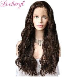 Lvcheryl 13x6 pelucas frontales de encaje sintético Color marrón Natural pelo largo de onda de agua futuro pelucas de cabello con línea de cabello Natural