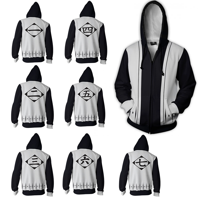 Anime Bleach Men/'s Hoodie Sweatshirt Hooded Coat Zip Up Jacket Cosplay Costume