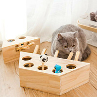 Whack Mole Mouse Cat Exercise Toy Solid Wooden Puzzle Box with 3/5 Holes Pet Toys TB Sale
