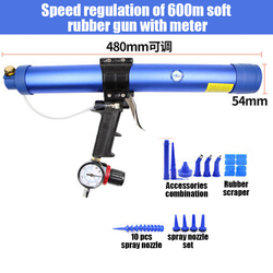 Tungfull 600ml Pneumatic Sealant Gun Adjustable Speed Pneumatic Glass Glue Gun Caulking Tool Caulking Nozzle Construction Tool