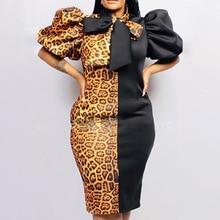 Винтаж пуховик рукав платье ретро леопард цвет блок галстук-бабочка воротник женские платья африканский осень большой плюс размер миди платья