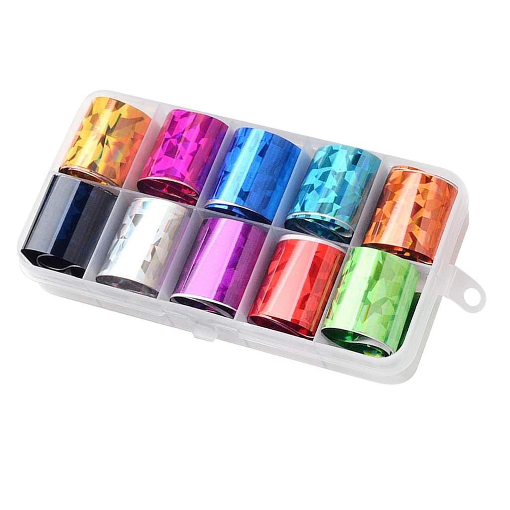 10 Different Styles Pattern DIY Nail Art Transfer Stickers, Charning Nail Decals UV Gel Tips Decorations