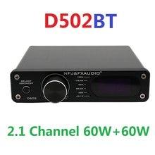 2020 fx-áudio novo d502bt amplificador de potência de áudio digital 2.1 canais subwoofer saída de alta potência 60w + 60w controlador remoto