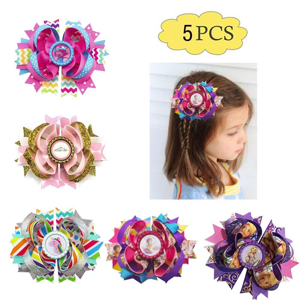 "50 Princess 4.5/"" Hair Bow Snowflake Elsa Anna Olaf Rhinestone Clip Frozen"