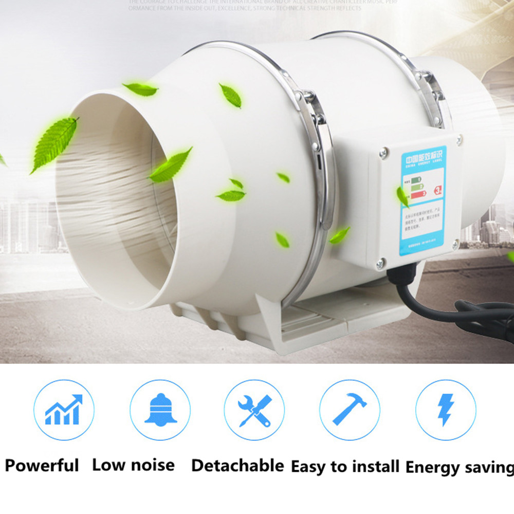 4/6/8 Inch AC120V/230V Air Ventilator Quiet Exhaust Inline Duct Fan for Hydroponics Grow Tent Grow Fans Ventilation Bathroom Fan