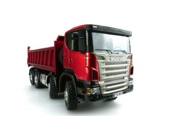 1/14 Metal Chassis LESU Sca 8*8 Dumper RC Truck Hydraulic Lifting Model Paint Red Color THZH0475