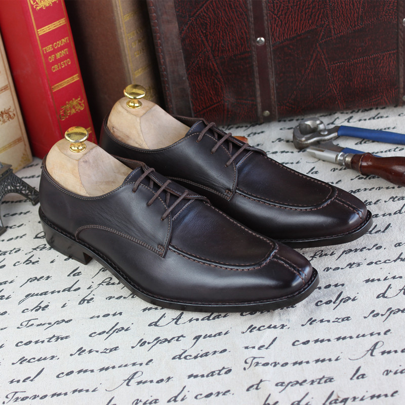 Erkek Ayakkabi Business High Quality Custom-made Shoes Calfskin Sole Dress Shoes Derby Shoes Color Cow Leather Genuine Leather