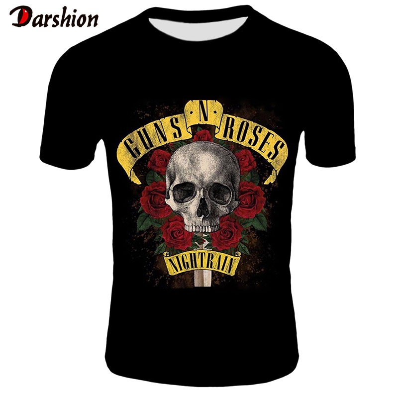 2019 New Men's T-shirts GUNS N ROSE NIGHTRIAN Printed T Shirt Men Tshirt Summer Black T-shirt Punk Skull Rose Design Plus Size
