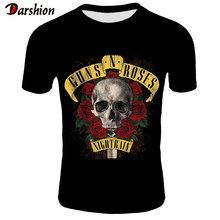 2019 New Mens T-shirts GUNS N ROSE NIGHTRIAN Printed T shirt Men Tshirt Summer Black T-shirt Punk Skull Rose Design Plus Size