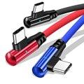 90 градусов кабель с разъемом USB Type-C 3A для быстрой зарядки и передачи данных Шнур для Samsung S10 S9 Huawei Mate 20 мобильный телефон USBC Светодиодная лампа...
