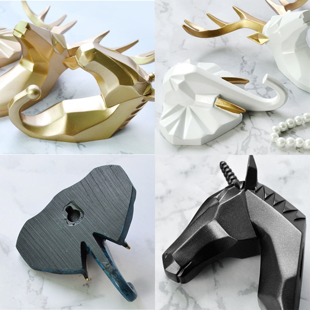1pc Deer Elephant Unicorn Rhinoceros Head Animal Resin Hook Clothing Display Racks Hook Coat Hanger Cap Room Decor Show Wall Bag