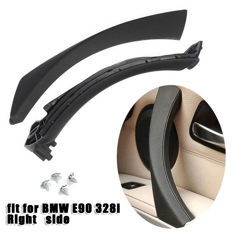 1 Set Inner Door Panel Handle Pull Trim Cover Front Right ABS Black anti-fouling anti-scratch For BMW E90 E91 316 318 320 image