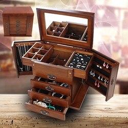 Grand multi-couche rétro en bois boîte à bijoux de luxe bijoux affichage porte-plateau cercueil boucles d'oreilles anneau boîte miroir bijoux organisateurs