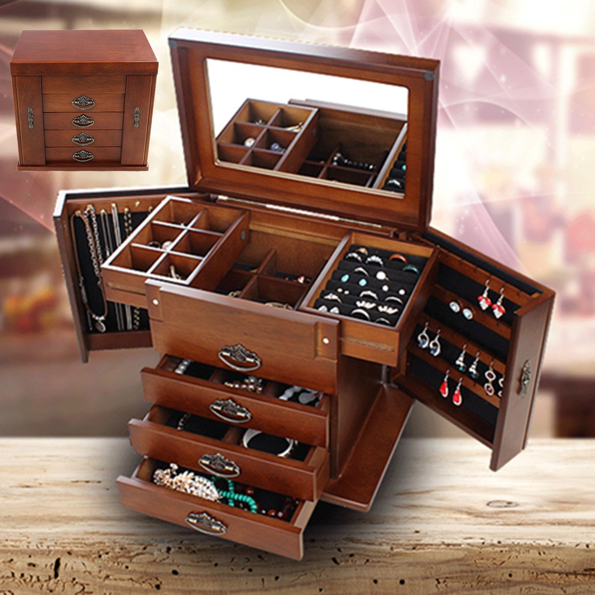 Large Multi-Layer Retro Wooden Jewelry Box Luxury Jewelry Display Tray Holder Casket Earrings Ring Box Mirror Jewelry Organizers