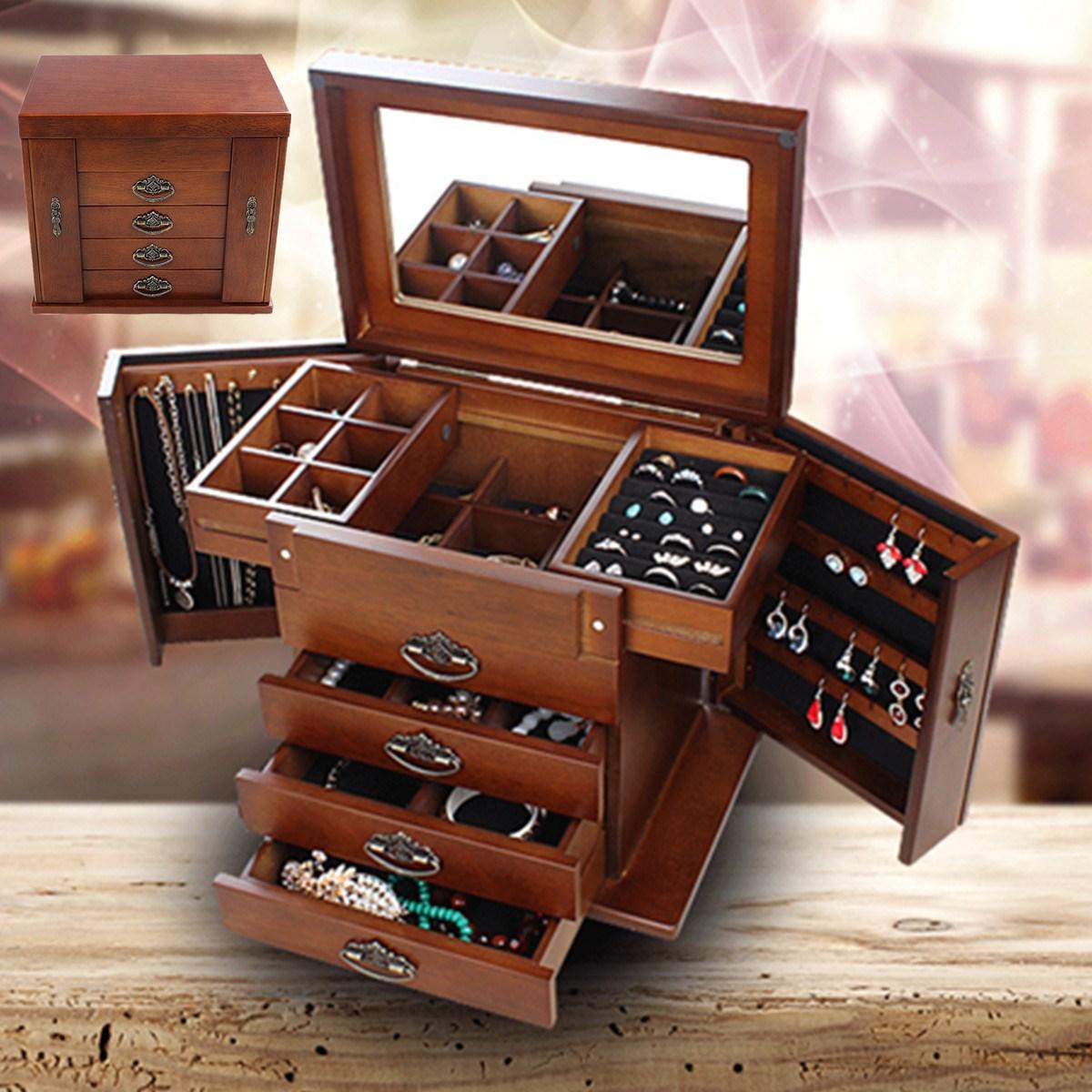 Large Multi-Layer Retro Wooden Jewelry Box Luxury Jewelry Display Tray Holder Casket Earrings Ring Box Mirror Jewelry Organizers