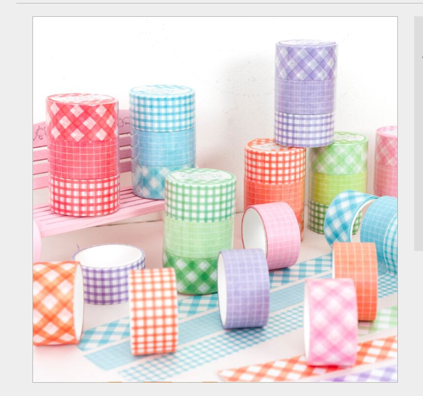 3 Rolls/pack Vintage Color Grid Control Square Grid Checks Plaid Washi Tape DIY Planner Diary Scrapbooking Masking Tape Escolar