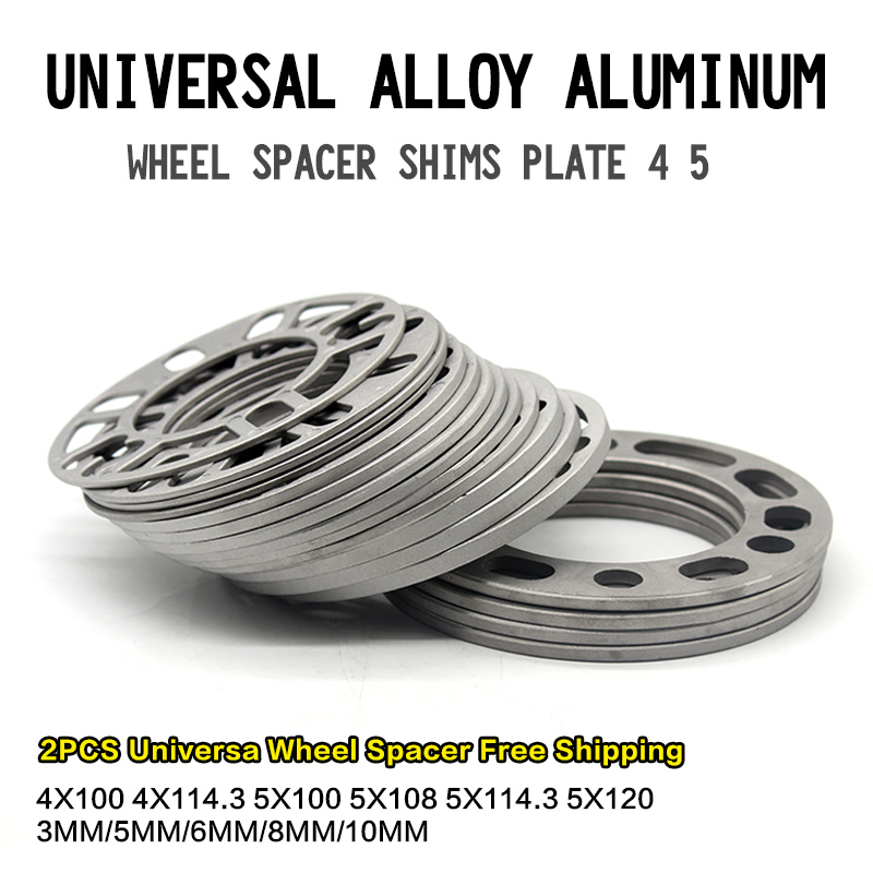 2Pieces Universal Alloy Aluminum 3mm 5mm 8mm 10mm Wheel Spacer Shims Plate 4 5 STUD For 4x100 4x114.3 5x100 5x108 5x114.3 5x120(China)