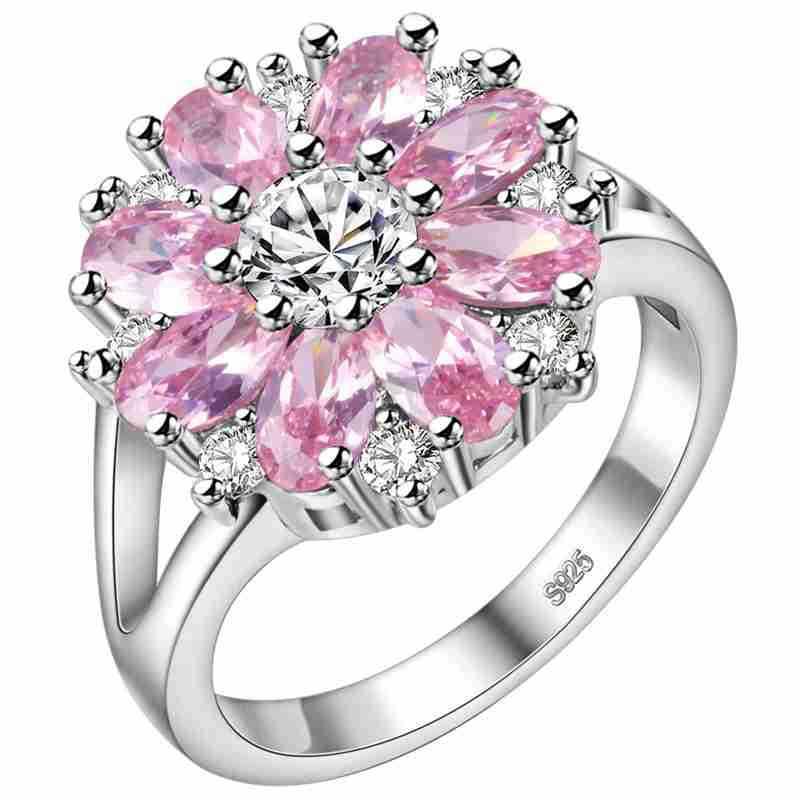 Целлюлозное изящное серебряное Ювелирное кольцо с камнями 925 пробы в форме цветка для женщин, рубиновый аметист, порошковый кристалл, хриза...