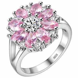 Image 3 - Cellacity חינני פרח בצורת כסף 925 תכשיטי אבני חן טבעת לנשים רובי אמטיסט אבקת קריסטל חרצית היכרויות