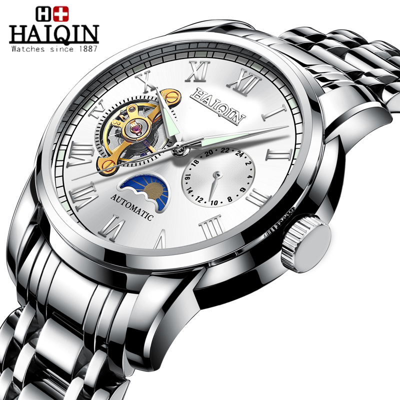 HAIQIN Mechanical Men's Watches Top Brand Luxury Watch Men Casual Waterproof Clock Male Steel Sport Wrist Watch Reloj Hombre