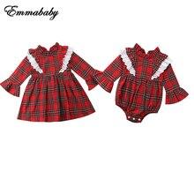 Одежда в красную клетку для новорожденных девочек Комбинезон в клетку с кружевом, мини-платье на возраст от 0 до 24 месяцев повседневная одежда с длинными рукавами От 1 до 6 лет