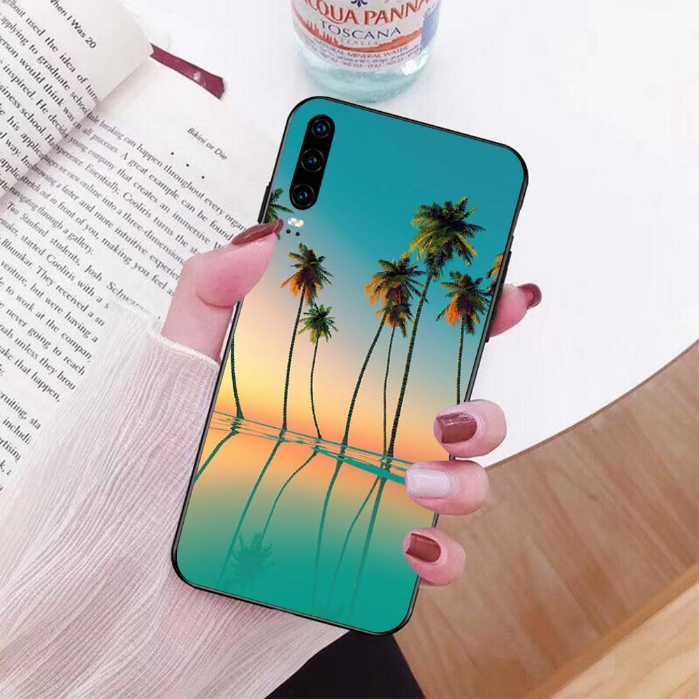 Escena de playa de verano al atardecer en el mar, palmera, funda de teléfono para Huawei P9 10 lite P20 pro lite P30 pro lite Psmart mate 20 pro lite