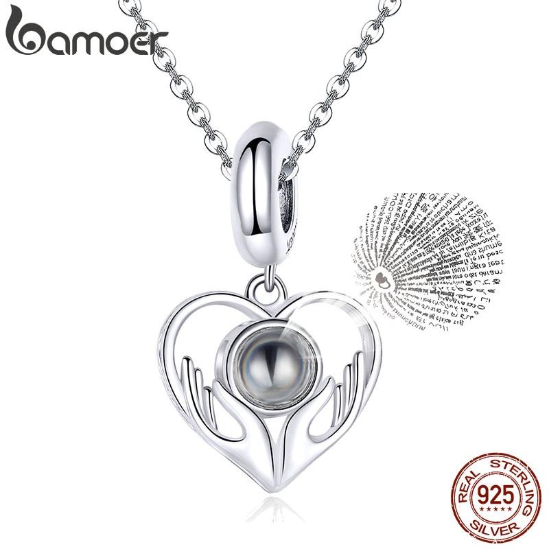 Bamoer 100 Linguagem QUE EU Te Amo Coração Charme Pingente para Pulseira ou Colar 925 Sterling Silver Jewelry Presentes para a Menina SCC1307