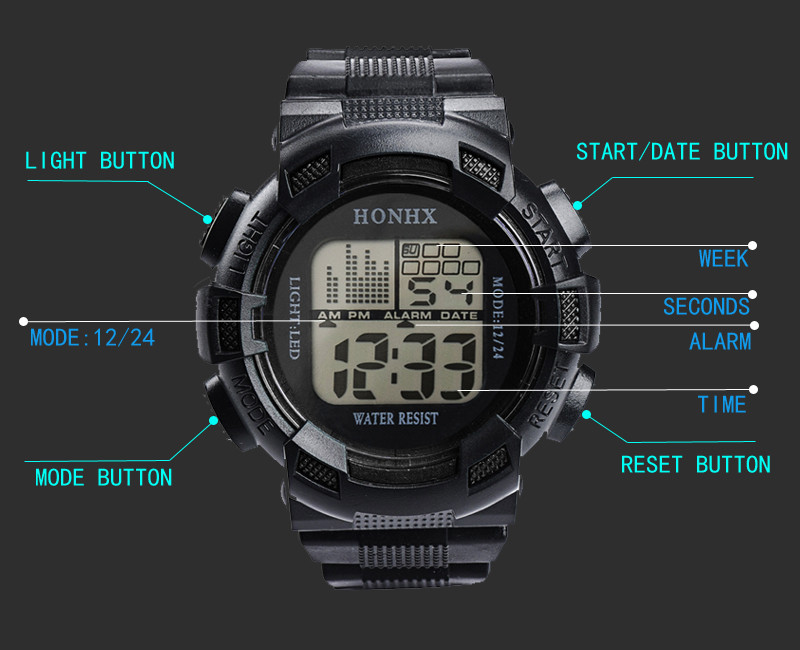 Multifunctional digital watch men outdoor running led watch sport watches digital watch relogio digital relogio montre homme-5