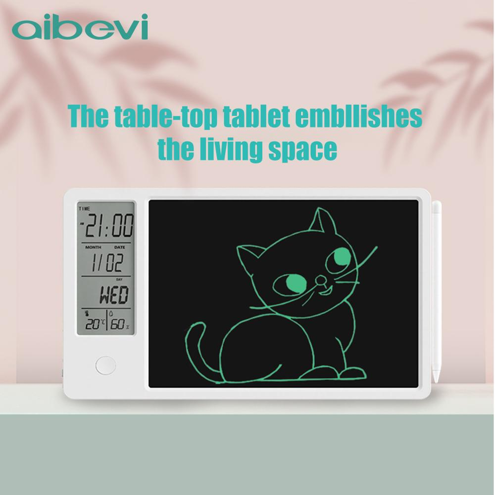 Aibevi 10 Inch Drawing Pad Temperature Humidity Display Electronic Calendar LCD Writing Tablet Doodle Board Type-c charging