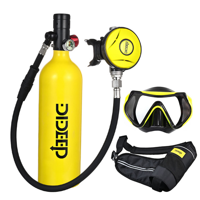 Scuba Diving Tank Equipment 1L Mini Scuba Cylinder Scuba Air Tank Portable Dive Oxygen Tank Underwater Respirators Breathing Device with Refillable Design Black