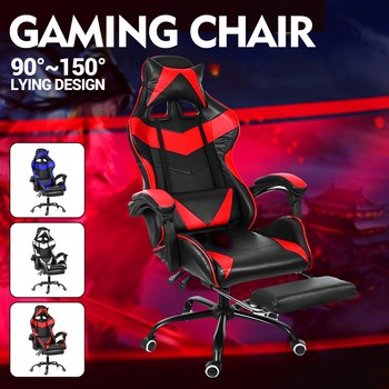 Wcg Computer Gaming Chair PVC Household Ergonomic Office Chair 150°lying Lift and Swivel Function Adjustable Footrest Armchair 1