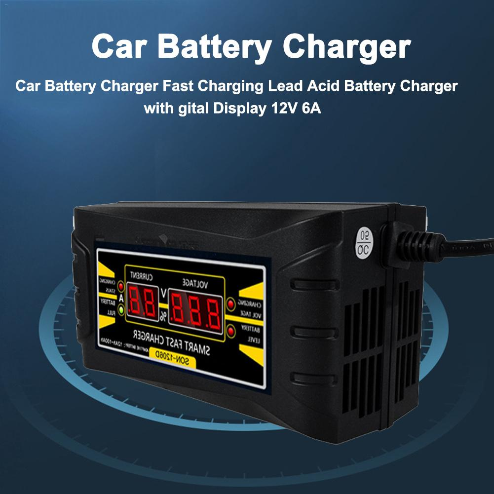 12V 6A Automatic Car Battery Charger Fast Charging Lead Acid Battery Charger With Digital Display Battery Charger
