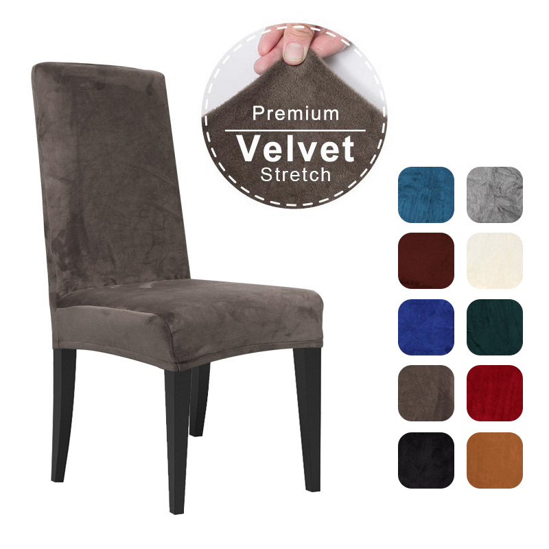 Velvet Dining Chair Cover Spandex Elastic Chair Slipcover Case For Chairs Office Wedding Dining Room Chair Cover Stretch