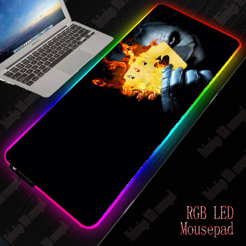 XGZ Joker Large USB Wired RGB Mouse Pad Dimmable LED Lighting Gaming Gamer Mousepad Desktop Keyboard Mice Mat Computer Laptop