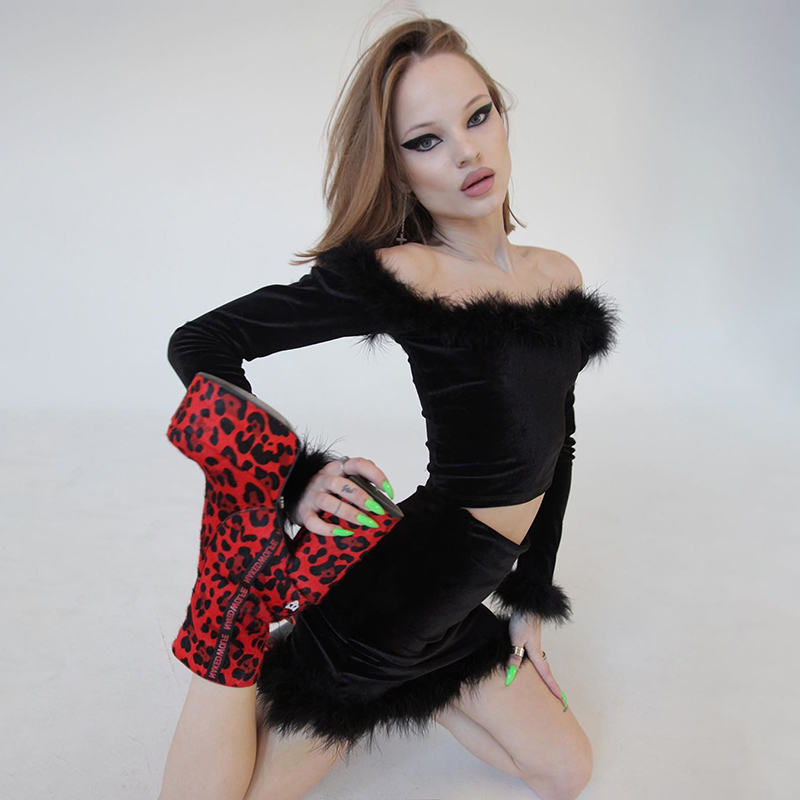 Gothic Black 2 Piece Set Feathers Splice Slash Neck Off Shoulder Slim T Shirt And High Waist Skirt Women Winter Sexy Punk Suit