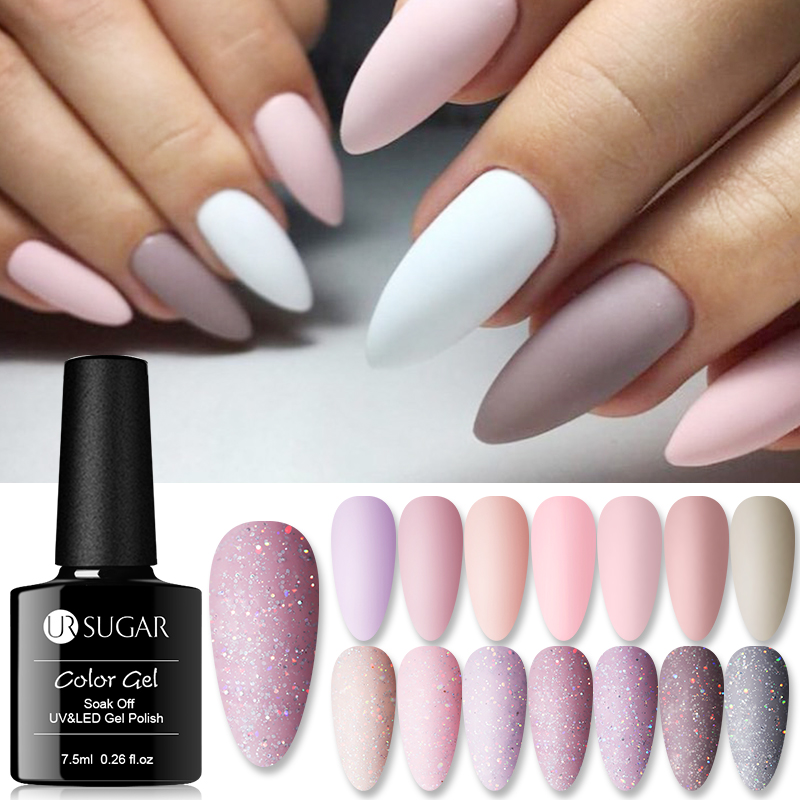 UR SUGAR Nude Glitter Gel Nail Polish Varnish Pink Rose Gold Shimmer Soak Off UV LED Nails Gel Varnish  7.5ml